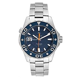 Tag Heuer Aquaracer 500M Blue Dial Orange Hand Steel Mens Watch WAJ1112