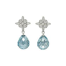 Tiffany & Co LACE Round Diamond & Aquamarine Briolette Drop Earrings Platinum