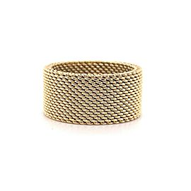 Tiffany & Co 18kt Yellow Gold Somerset Mesh Wide 10 MM Band Ring