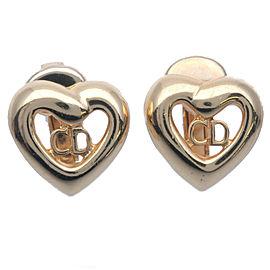 Authentic Christian Dior CD Logo Heart Earrings