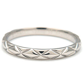 Authentic CHANEL Matelasse Ring Small Platinum #58 US8-8.5 HK18.5 EU58 Used F/S