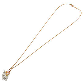 Authentic Tiffany&Co. Love Diamond Charm Necklace K18 Rose/White Gold Used F/S