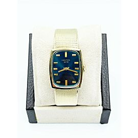 Croton Blue Dial 14K Yellow Gold with Box