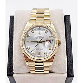 Rolex Day Date President 118238 Silver Diamond Dial 18K Gold Box Paper 2018