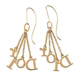 Authentic Christian Dior DIOR Logo Chain Earrings