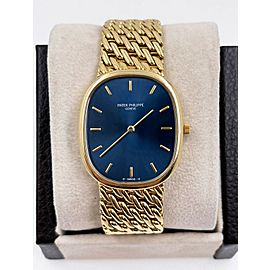 Patek Philippe Jumbo Ellipse Reference 3738 Blue Dial 18K Yellow Gold Papers
