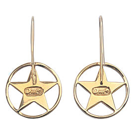 Authentic Christian Dior CD Logo Star Earrings Gold Used F/S