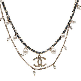 Authentic CHANEL Coco Mark Rhinestone Pearl Leather Chain Necklace A18B Used F/S