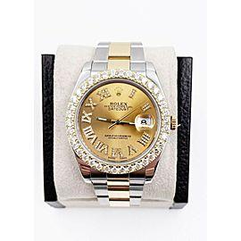 Rolex Datejust 41mm 116333 Diamond Dial Diamond Bezel 18K Yellow Gold Stainless