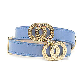 Authentic BVLGARI Leather Double Coiled Wrap Bracelet Blue Gold Used F/S