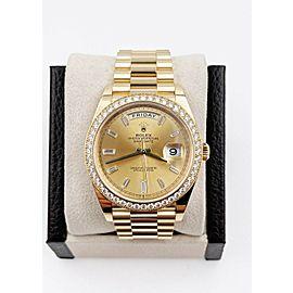 BRAND NEW Rolex President 228348 Diamond Dial Bezel 18K Yellow Gold 40mm