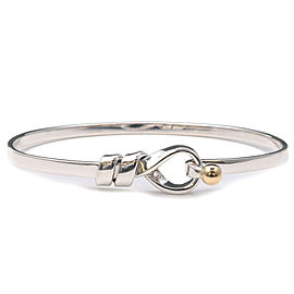 Authentic Tiffany&Co. Flat Wire Bangle SV925 Silver 750YG Yellow Gold Used F/S