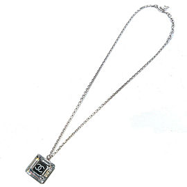 Authentic CHANEL CoCo Mark Square Necklace Clear Black 05A Used F/S
