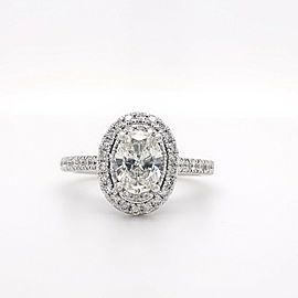 VERA WANG Love Oval Diamond 1 5/8 TCW Frame Halo Engagement Ring 14kt White Gold