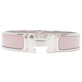 Authentic HERMES Clic Clac PM H Logo Bangle Bracelet Silver Pink Used F/S
