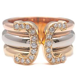 Authentic Cartier 2C Diamond Ring K18 750 YG/WG/PG #49 US5 HK10.5 EU49 Used F/S