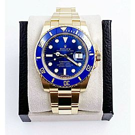 Rolex Submariner 116618 Blue Ceramic 18K Yellow Gold Box Papers 2018