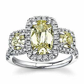 HENRI DAUSSI 2.36 tcw 3 Stone Cushion Diamond Engagement Ring 18kt White Gold