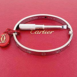 Cartier LOVE Bangle Bracelet White Gold SZ 17 COA