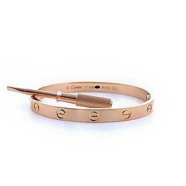 CARTIER Love Bangle Bracelet 18kt Rose Gold SZ 17 Full Set COA
