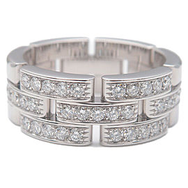 Auth Cartier maillon Panthère Ring Half Diamond White Gold #56 US7.5 Used F/S