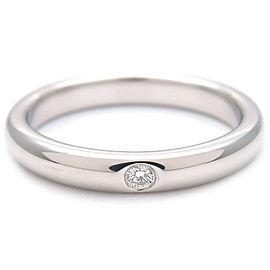 Authentic Tiffany&Co. Stacking Band Ring 1P Diamond Platinum US5 EU49 Used F/S