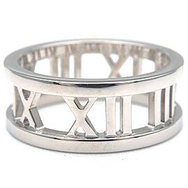 Authentic Tiffany&Co. Atlas Open Ring K18 White Gold US4.5 HK9.5 EU48 Used F/S