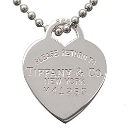 Authentic Tiffany&Co. Return to Tiffany Heart Tag Long Necklace Silver Used F/S