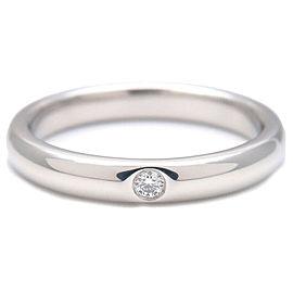 Authentic Tiffany&Co. Stacking Band Ring 1P Diamond Platinum US5 EU49.5 Used F/S