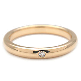 Authentic Tiffany&Co. Stacking Band Ring 1P Diamond K18 Yellow Gold US6 Used F/S
