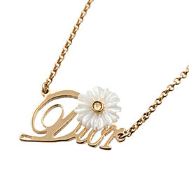 Authentic Christian Dior CD Logo Rhine Stone Flower Necklace Gold White Used F/S