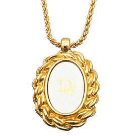 Authentic Christian Dior Oval Logo Necklace Penadant Gold Silver Used F/S