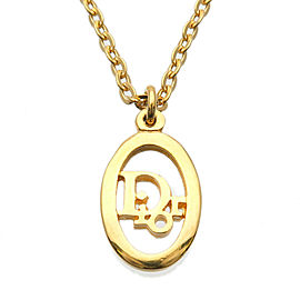 Authentic Christian Dior Logo Necklace Pendant Gold Used F/S