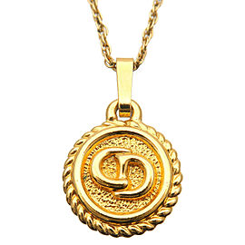 Authentic Christian Dior CD Logo Necklace Penadant Gold Used F/S