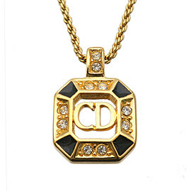 Authentic Christian Dior CD Logo Rhine Stone Necklace Gold Black Used F/S
