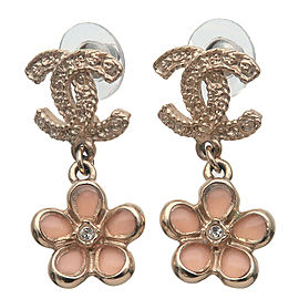 Authentic CHANEL CoCo Mark Flower Charm Rhinestone Earring Gold A18C Used F/S