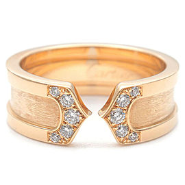 Authentic Cartier 2C Diamond Ring SM Yellow Gold #50 US5.5 HK11.5 EU50 Used F/S