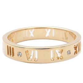 Authentic Tiffany&Co. Pierced Atlas 4P Diamond Ring Yellow Gold US6.5 Used F/S