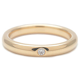 Authentic Tiffany&Co. Stacking Band Ring 1P Diamond K18 Yellow Gold US5 Used F/S