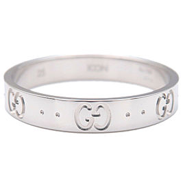 Authentic GUCCI ICON Ring K18WG 750WG White Gold #25 US11 HK25 EU65 Used F/S