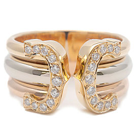 Authentic Cartier 2C Diamond Ring LM Three Color YG/WG/PG #50 US5-5.5 Used F/S