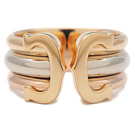 Authentic Cartier 2C Ring LM Three Color K18 YG/WG/PG #51 US5.5-6 EU51 Used F/S