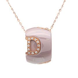Authentic DAMIANI D Icon Diamond Neckalce Ceramic K18 Rose Gold Greige Used F/S
