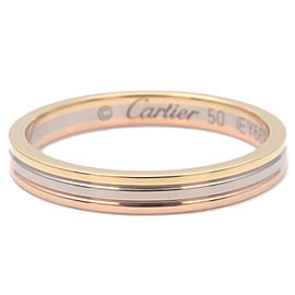 Authentic Cartier Three Color Ring K18 YG/WG/PG #50 US5-5.5 HK11.5 EU50 Used F/S