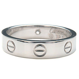 Authentic Cartier Mini Love Ring 1P Diamond K18 White Gold #50 US5-5.5 Used F/S