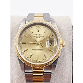 Rolex Date 15223 Champagne Dial 18K Yellow Gold Stainless Steel