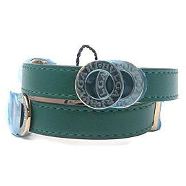 Auth BVLGARI Bvlgari Bvlgari Leather Double Coiled Wrap Bracelet Green Used F/S