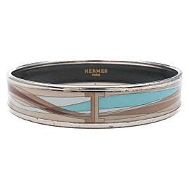 Authentic HERMES émail MM Bangle Bracelet Beige Brown Light Blue Used F/S