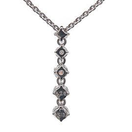 Authentic MIKIMOTO 5P Diamond Necklace 0.28ct K18WG 750WG White Gold Used F/S