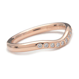 Authentic Tiffany&Co. Curved Band Ring 9P Diamond Rose Gold US4 EU46.5 Used F/S